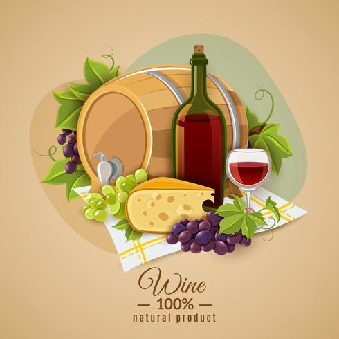 Vin och ostaffisch vektor