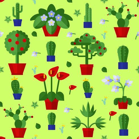 Nahtloses Muster der flachen Blumenpflanzenikonen vektor