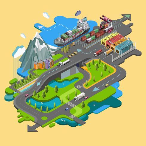 Platt vektor karta landskap parker byggnader sittplatser idrottsplatser bild av naturen av berg och sjöar