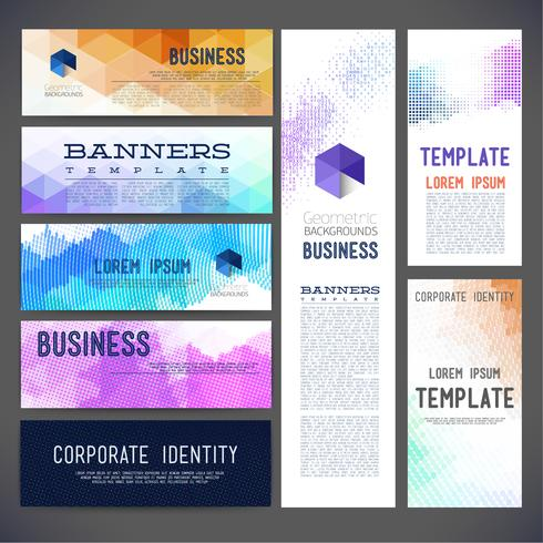 Banderoller vektor mall broschyr, element, sida, broschyr, med färgglada geometriska trekantiga prickar