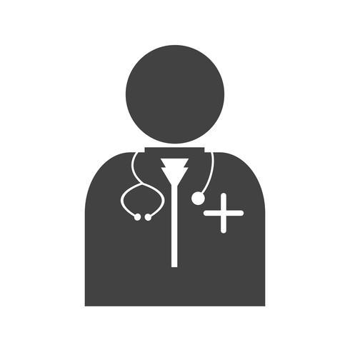 läkare glyph black icon vektor