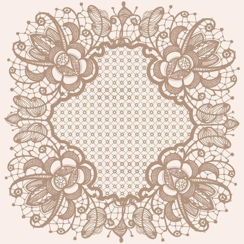 Abstraktes Spitzebandmuster mit Elementblumen. Schablonenrahmendesign für Karte. Spitzendeckchen. vektor