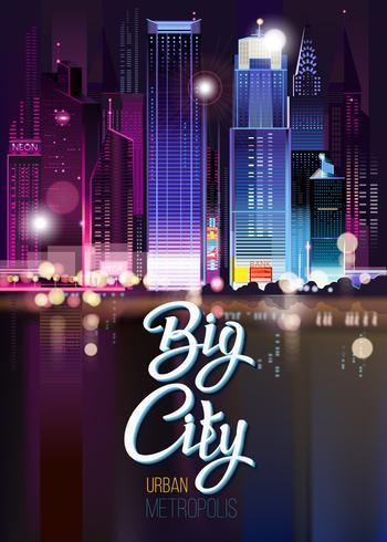 Abstrakt stadsnattlandskap med delar av byggnader, ljusbilar, stad, storstad. vektor