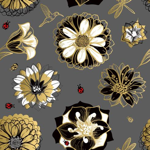 Nahtloses Muster blüht, Schmetterlinge, Kolibris, dunkler Hintergrund. vektor