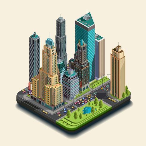 Isometrisk stad, 3d, skyskrapa distrikt del av ikoner som består av byggnader. vektor