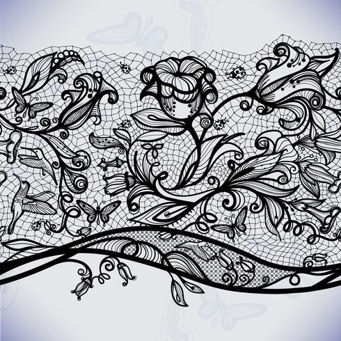 Abstrakt sömlöst spetsmönster med blommor och fjärilar. Oändligt tapeter, dekoration för din design, underkläder och smycken. vektor