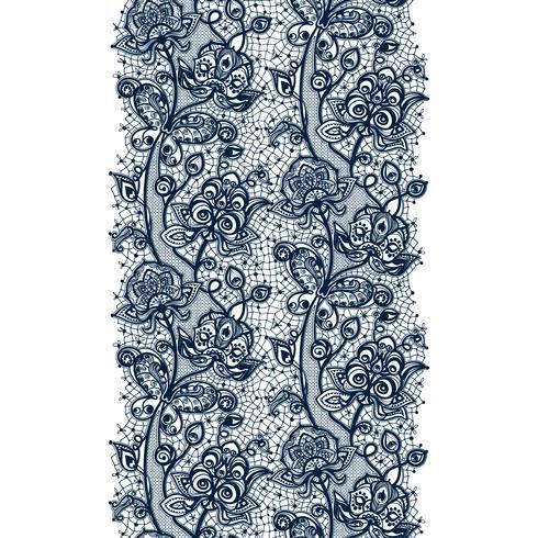 Nahtloses Muster des abstrakten Spitzebandes mit Elementblumen. Schablonenrahmendesign für Karte. Spitzendeckchen. vektor