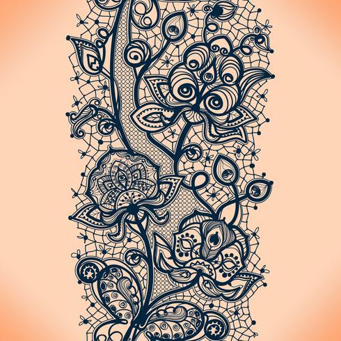 Abstrakt spetsband sömlöst mönster med elementblommor. Mallramdesign för kort. Lace Doily. vektor