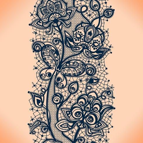 Nahtloses Muster des abstrakten Spitzebandes mit Elementblumen. Schablonenrahmendesign für Karte. vektor