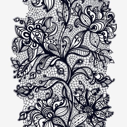 Abstraktes Spitze-Band-nahtloses Muster. Schablonenrahmendesign für Karte. Spitzendeckchen vektor