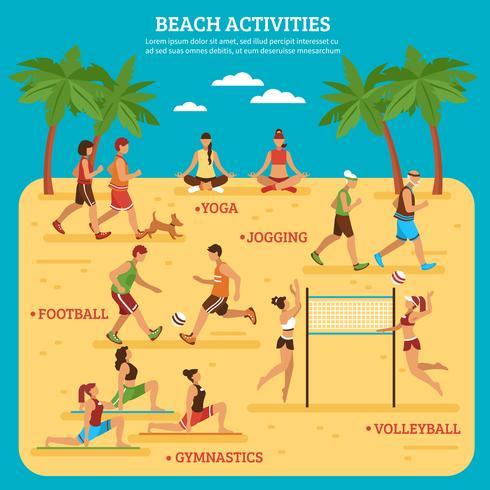 Strandaktiviteter Infographics vektor