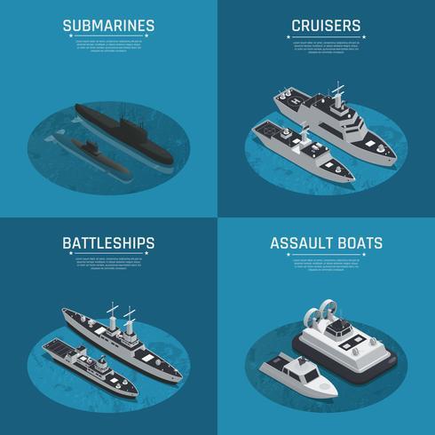 Kvadratisk militär båt Isometrisk ikonuppsättning vektor