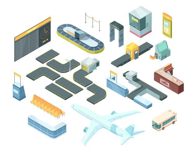 Flygplats isometrisk uppsättning vektor