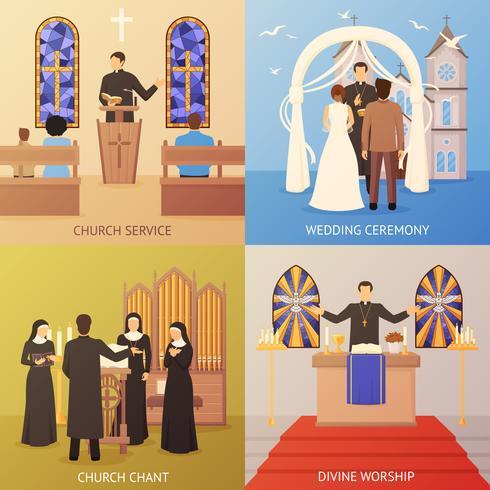 Konzept der Kirche 2x2 vektor
