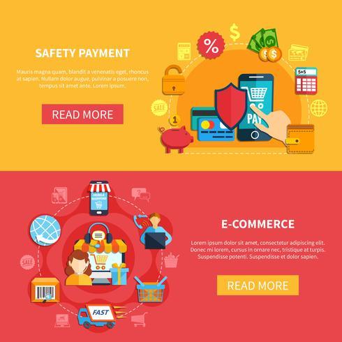 E-Commerce-Banner für zwei vektor