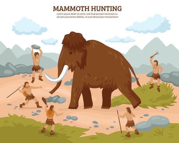 Mammutjagd-Hintergrund vektor