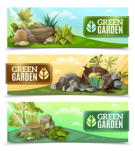 Landschaftsgarten Design horizontale Banner Set vektor