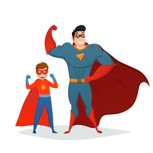Man och pojke Superheroes Retro Sammansättning vektor