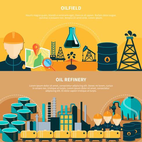 Oljeraffinaderi Horisontella Banderoller vektor