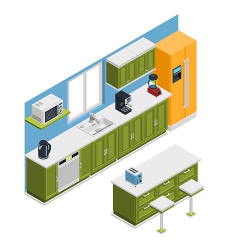 Isometrische Zusammensetzung der Küchenmöbel vektor