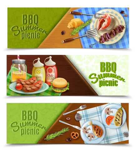 BBQ-Sommer-Picknick-Banner eingestellt vektor