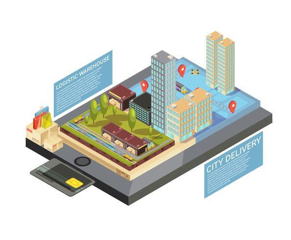 Varor Online City Delivery Isometric Infographics vektor
