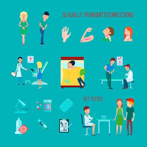 Sexuella hälso sjukdomar Icon Set vektor