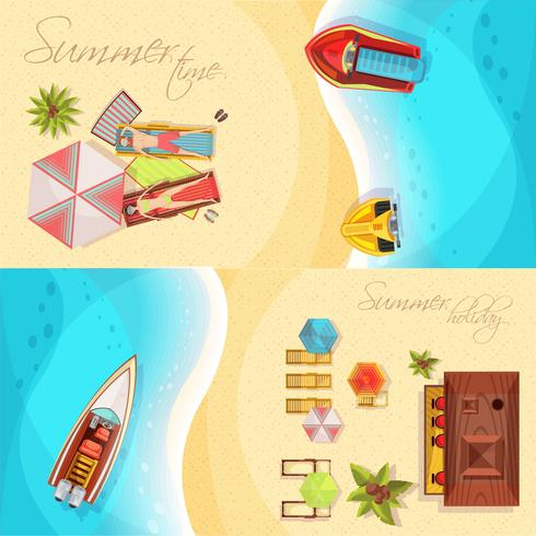 Beach Holiday Horisontell Banners Top View vektor
