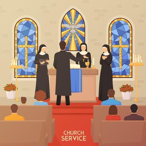 Gottesdienst-religiöse Zeremonie-flache Fahne vektor