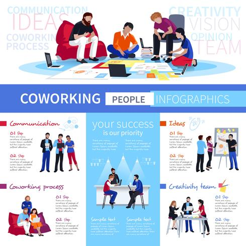 Coworking People Flat Infographic Poster vektor