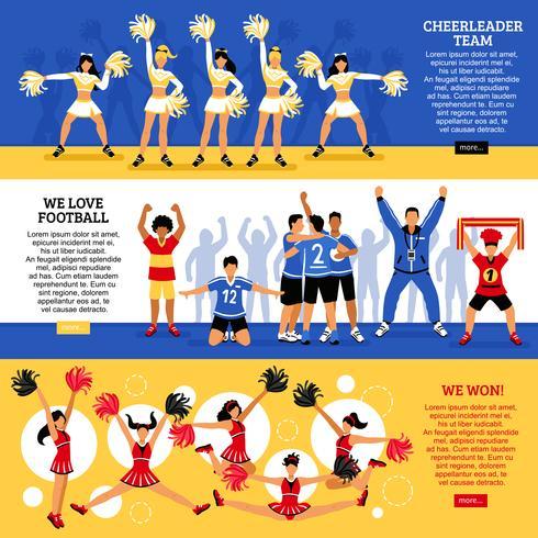 Cheerleader-Team 3 flache Banner vektor