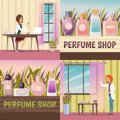 Vier Parfüm-Shop-Icon-Set vektor