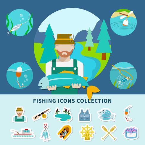 Fischerei-Ikonen-Sammlungs-Hintergrund vektor