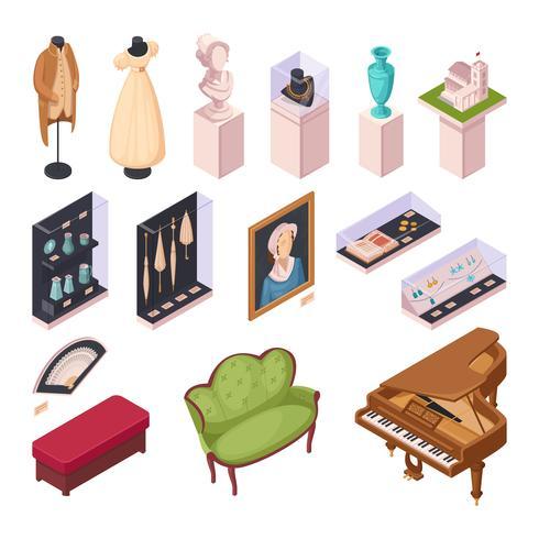 Isometriska ikoner för museumsutställning vektor