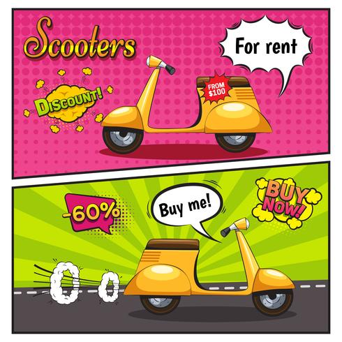 Scooters Comic Style Banners vektor