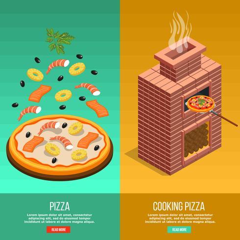 pizza bakning banner set vektor
