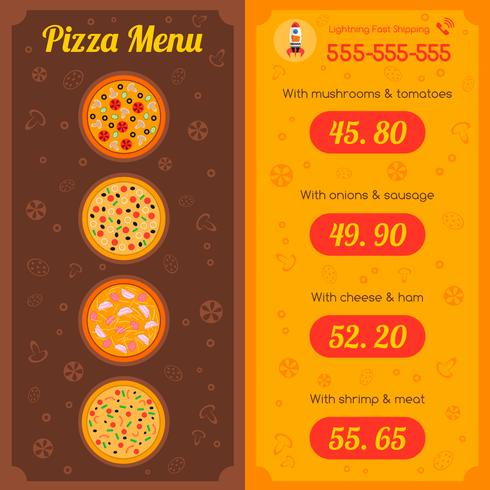 Pizza restaurangmeny vektor