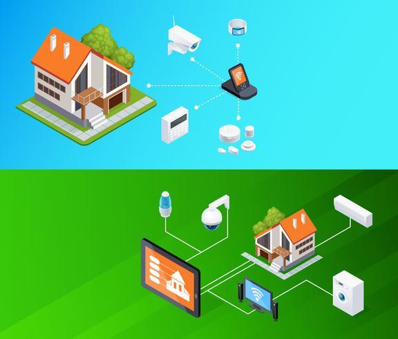 Smart Home Isometric Banners Set vektor