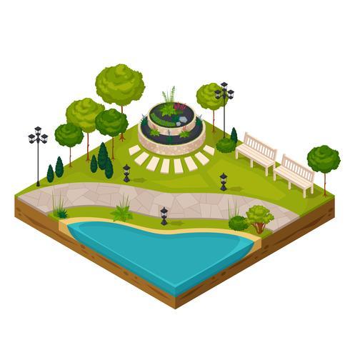 Isometrisches Fragment der Parklandschaft vektor