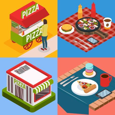 pizzeria isometrisk designkoncept vektor