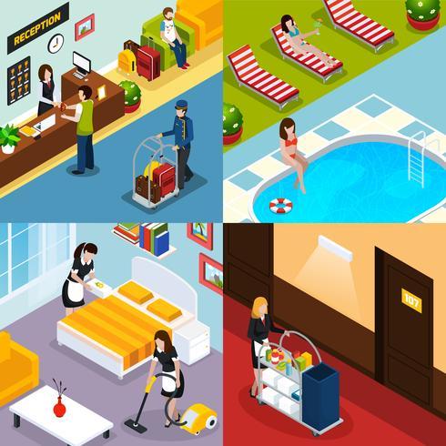 Hotellservice Isometrisk ikonuppsättning vektor