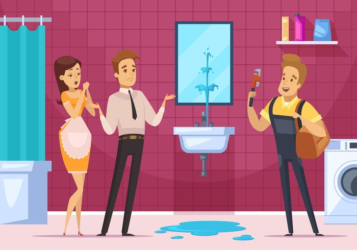 Rörmokare och familjepar i badrumsinredning vektor