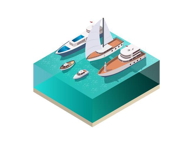 Vattenfartygs isometrisk sammansättning vektor