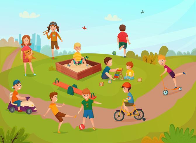 Kinder, die Komposition spielen vektor
