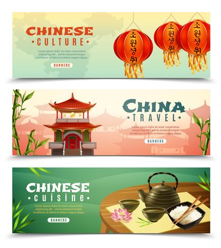 China-Reise-horizontales Fahnenset vektor