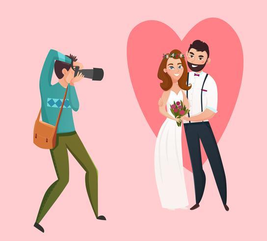 Bröllop Fotograf Design Koncept vektor