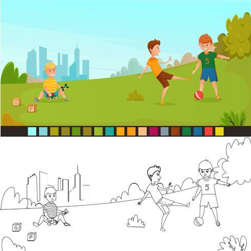 färgningssida barnsammansättning vektor