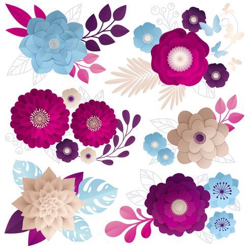 Papper Blommor Kompositioner Färgrik Set vektor