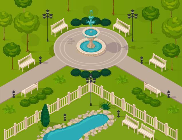 Fragment av City Park Landscape vektor