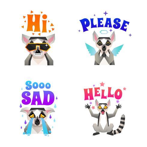 .lemur känslor polygonala ikoner uppsättning vektor